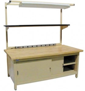 Enclosed Cabinet Bench with Sliding Doors